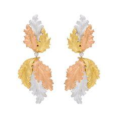 Buccellati Tri-Color 18k Gold Leaf Drop Earrings
