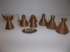 Vintage Cobre Y Laton Mexican Folk Art COPPER Nativity 7 Piece Set