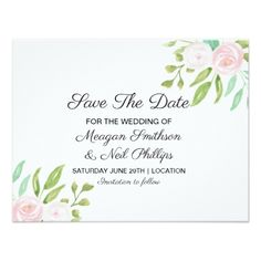 Save The Date Wedding Pink White Floral Flower Card - save the date gifts personalize diy cyo