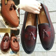 #styletips With intricate detailing, edgy sole n tassel this #patina finished oxblood brogue slipon is perfect for men who are looking for retro look this winter. #houseofAH