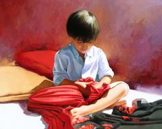 Cuantos pañuelos!!! / Scarves 81x100 oil on canvas figurative painting by Jose Higuera Fine Art. http://www.josehiguera.com  http://www.facebook.com/joseyhiguera
