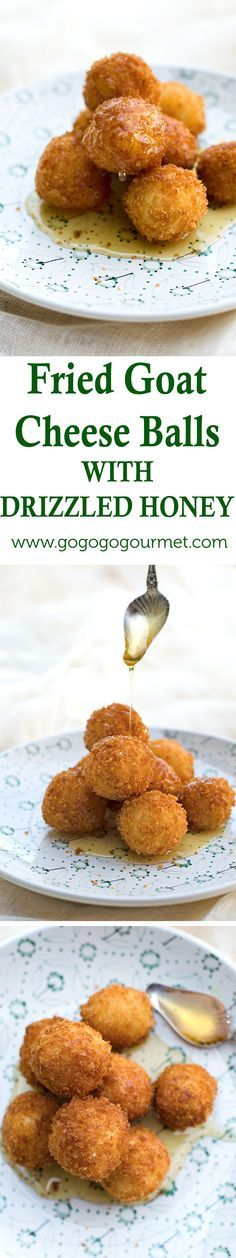Sweet AND savory, this appetizer could easily pass for dessert too. Fried Goat Cheese Balls with Drizzled Honey | Go Go Go Gourmet @gogogogourmet