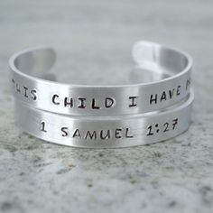 Metal Stamp Cuff Bracelet: For This Child I Have Prayed (1 Samuel) Catholic jewelry