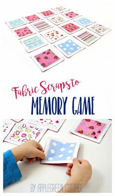 Fabric Memory Game tutorial and free pdf template. Matching scraps can be easily turned into a cute set of fabric cards for a memory game. A great DIY birthday present for children and adults alike! And these pieces can even double as coasters! They are totally easy to clean - just throw them in the washer when doing laundry, done! #sewingproject #freepattern #sewing #diy #diytoys #sewingforkids #forkids #crafting #diygifts #easydiy