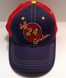 Jeff Gordon 24 Cap Hat Red Embroidered Yellow Blue Fabric Closure For Fit  NWOT  Chase 5166d68b2b5e