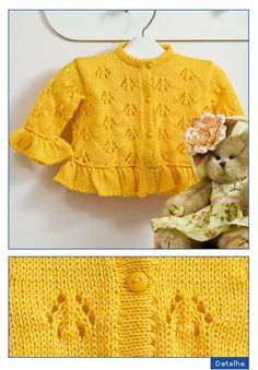 Lace baby jacket (knit with cr Baby Knitting Patterns, Knitting For Kids, Crochet For Kids, Knitting Stitches, Baby Patterns, Free Knitting, Knitting Projects, Knit Crochet, Toddler Sweater