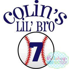 Baseball Little Brother Iron on Transfer - Tshirt - Bodysuit - Tote Bags - DIY - Baseball - You choo Toddler Baseball Shirt, Osu Baseball, Metal Baseball Cleats, Baseball Live, Baseball Shirts, Baseball Clothes, Baseball Sister, Baseball Scoreboard, Baseball Crafts