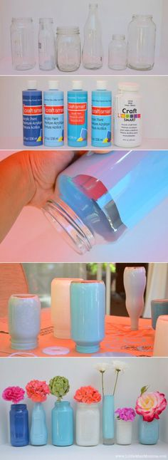 Paint old mason jars and use for center pieces. It's just perfect for recruitment parties and can be used again and again.