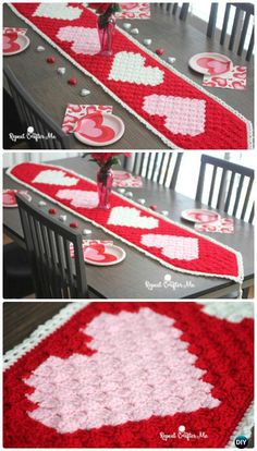 Crochet Valentine Heart Table Runner Free Pattern - #Crochet Valentine Heart Gift Ideas Free Patterns