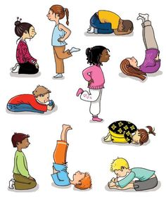 Yoga positions for kids.  Stretch the body in fun ways.