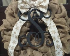Traditional Burlap Wreath by SouthernCustoms46 on Etsy  Holiday wreath- $45