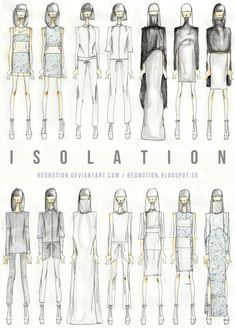 ISOLATION - 2012 by rednotion on DeviantArt : Fashion Portfolio - Isolation collection lineup drawings; Illustration Tutorial, Illustration Mode, Fashion Illustration Sketches, Fashion Sketchbook, Fashion Design Portfolio, Fashion Design Sketches, Sketch Design, Sketch Fashion, Fashion Drawings