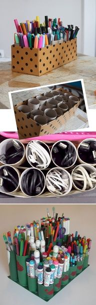 Lots of uses for Toilet Paper Rolls. I would take this further and paper the rolls with scrapbook paper, paint the inside of tubes, paper a box to match and WOW....what a great storage for pens of all sorts, brushes, markers, etc!!! In fact I will make one and post it.