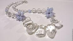 Купить Колье Ожидание Весны - голубой, горный хрусталь, сапфирин, нежное украшение, подарок девушке