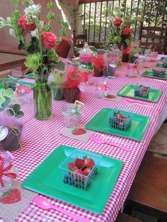 Strawberry Shortcake Party tablescape