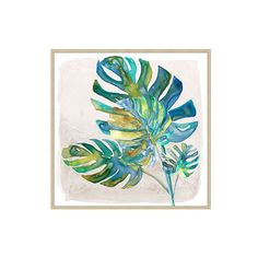 "Ballard Designs Tropical Breeze Art - Set of 2  25"" x 25"" ($495) ❤ liked on Polyvore featuring home, home decor, wall art, ballard designs, leaves wall art, painted wall art, palm leaf wall art and leaf wall art"