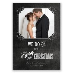 Christmas Vows Photo Holiday Card Perfect chalkboard style holiday card for newlywed and engaged couples!