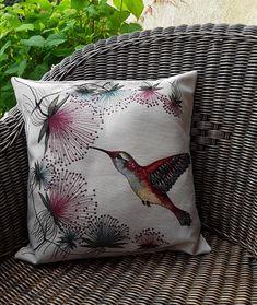Grande housse de coussin carré, tissu tissé motif colibri et toile de coton beige, décoration du salon,thème nature