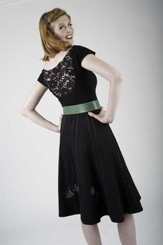 Embroidered skirt and lace inset blouse made by Melisa Hart owner at Stitchology fabric store.