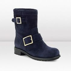 Jimmy Choo Youth Navy Suede Biker Boots JCB2053