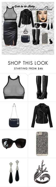 """""""Silver and Black"""" by oohlalababe ❤ liked on Polyvore featuring Dsquared2, Frye, Michael Kors, Miss Selfridge, Chanel, Case-Mate, Kenneth Jay Lane, Lord & Taylor and vintage"""
