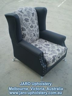 Modern Wing Chair Design with Studs by JARO Upholstery, Pakenham, Melbourne