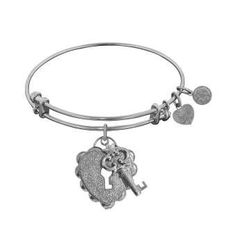 """Angelica non-antique white stipple brass """"key to my heart"""" bangle Designer:Royal Chain $ 25.00 Item #: 6WMXNJ Call 870-863-8818 for personal consultation."""