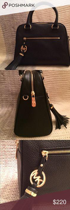 "NWT Michael Kors Tassel Satchel Authentic Michael Kors genuine black leather medium tassel satchel. Gold hardware, side zip pocket, 20"" detachable chain and leather shoulder strap. Michael Kors Bags Satchels"
