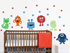 Monster wall decal Monster Fabric Decals by ToodlesDecalStudio