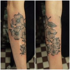 pretty black & grey dogwood - I really like the dogwood flowers on a tattoo!