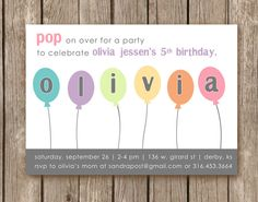 Mint balloon birthday party invitation printable coral typography balloon birthday party invitation perfect for a boy or girl and can be custom designed filmwisefo Image collections