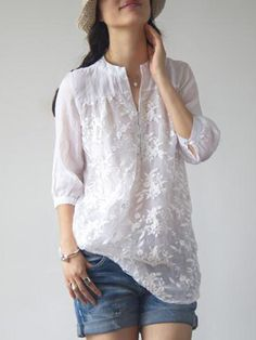 Buy Blouses & Shirts For Women at PopJulia. Online Shopping White Long Sleeve Embroidered Floral Organza Blouse, The Best Blouses & Shirts For Women. Blouse Styles, Blouse Designs, Vetements Clothing, Outfit Trends, Fashion Outfits, Womens Fashion, Fashion Trends, Latest Fashion, Fashion Ideas
