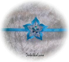 Collier Fleur turquoise Strass cristal ❀ Collier fleur ruban de satin Mariage communion : Collier par soleildelune-bijoux-mariage