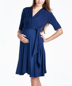 Loving this Navy Keyhole Maternity/Nursing Surplice Dress on #zulily! #zulilyfinds