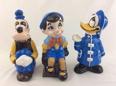 Vtg Walt  Disney Productions Pinocchio Donald Duck Goofy Ceramic Figurines  #WaltDisneyProdcutions