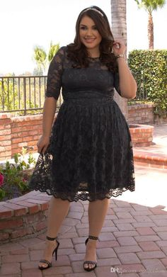 2016 Cheap Plus Size Black Lace Prom Dresses Half Sleeve Full Lace Knee Length Formal Evening Occasion Dresses Custom Made Hot Sale 8th Grade Prom Dresses Camo Prom Dress From Ourfreedom, $102.22| Dhgate.Com