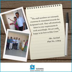 Delighted to receive such happy reviews.   #EliteCross #Testimonials #Sushma #RealEstate #Happiness #Satisfaction #Families