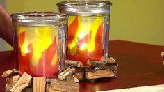 Einmachgläser mit Lagerfeuer-Deko