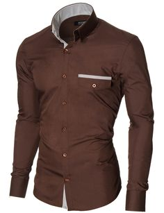 MODERNO Mens Slim Fit Casual Button-Down Shirt (MOD1413LS) Brown. FREE worldwide shipping! 30 days return policy