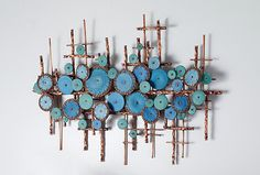 Ripples in Blues by Hannie Goldgewicht (Mixed-Media Wall Scu.- Ripples in Blues by Hannie Goldgewicht (Mixed-Media Wall Sculpture) x Ripples in Blues by Hannie Goldgewicht (Mixed-Media Wall Sculpture) x - Ceramic Wall Art, Wood Wall Art, Glass Ceramic, Sculptures Céramiques, Sculpture Art, Creation Deco, Driftwood Crafts, Media Wall, Contemporary Wall Art