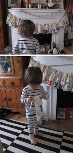 Advent bags for toddlers....such a cute and fun idea to give a small surprise everyday. Or put a special ornament inside and they help create the tree day by day leading up to Christmas eve.