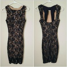 Weekend saleBlack and nude sequin dress Bought this dress from Dillards, has silver sequin all over black lace and the back has a cute bow detail. I wore this dress once for an event, and now it no longer fits me. (Fits me mid thigh) ⚠Price Firm on weekend sales⚠ B. Darlin Dresses Midi