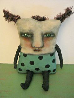 Monster art doll-Elaine- ooak- weird doll- odd art doll- creepy doll, funny- wall hanging- wall art doll- shelf art