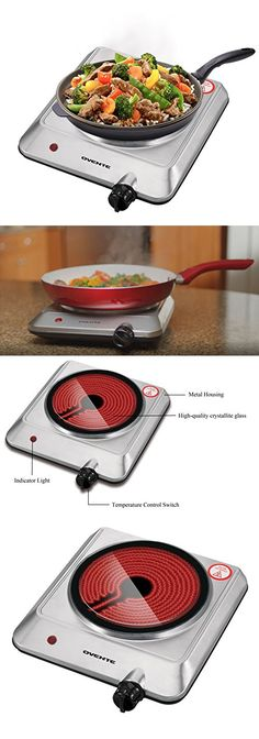 Ovente Cooktop Burner, Infrared, Ceramic Glass, Portable, 1000 Watts