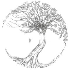 Tree of Life tattoo - add nest with 2 eggs and 4 forget-me-nots - cute-tattoo.com