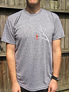Scarlet Cardinal & Branches T-shirt, super soft red cardinal unisex, American Apparel tee by strawberryluna, $23.00