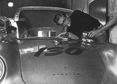 James Dean, the fateful morning of at Competition Motors in L. readying the Spyder for the trip to Paso Robles. Mechanic Rolf Wuetherich on the left, stunt driver Bill Hickman on the right. James Dean Car, James Dean Pictures, Old Hollywood Actors, Porsche 550, The Last Ship, Black And White People, Jimmy Dean, Bad Picture, Bathrooms