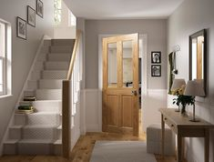 Get some inspiration for your next project. View some of our best selling designs of oak and walnut doors and see how they add a touch of style to any room. Oak Interior Doors, Interior Stairs, Pine Doors, Oak Doors, Grey And White Hallway, White Oak, Walnut Doors, Flur Design, Hallway Designs