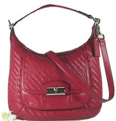 Coach Kristin Woven Leather Convertible Hobo Handbag 19314 Scarlet Red