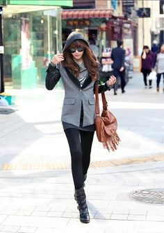 KOREAN FASHION STYLE I like this hoodie look with a business cut jacket...wish I knew how to get it!